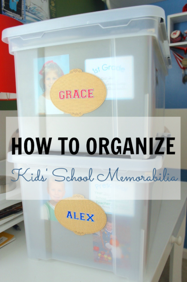 DIY Organizing Ideas for Kids Rooms - Organize Kids' School Memorabilia - Easy Storage Projects for Boy and Girl Room - Step by Step Tutorials to Get Toys, Books, Baby Gear, Games and Clothes Organized - Quick and Cheap Shelving, Tables, Toy Boxes, Closet Tips, Bookcases and Dressers - DIY Projects and Crafts http://diyjoy.com/diy-organizing-ideas-kids-rooms