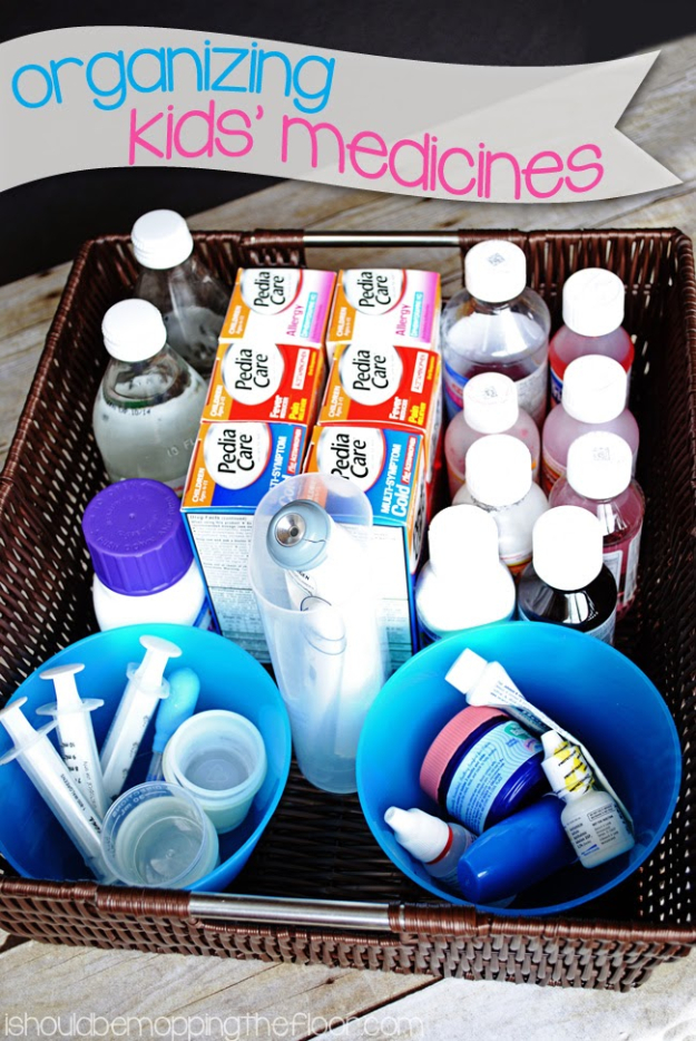 DIY Organizing Ideas for Kids Rooms - Organizing Kids' Medicines - Easy Storage Projects for Boy and Girl Room - Step by Step Tutorials to Get Toys, Books, Baby Gear, Games and Clothes Organized #diy #kids #organizing