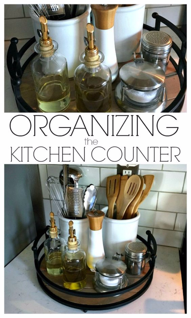 DIY Organizing Ideas for Kitchen - Org anizing the Kitchen Counter- Cheap and Easy Ways to Get Your Kitchen Organized - Dollar Tree Crafts, Space Saving Ideas - Pantry, Spice Rack, Drawers and Shelving - Home Decor Projects for Men and Women
