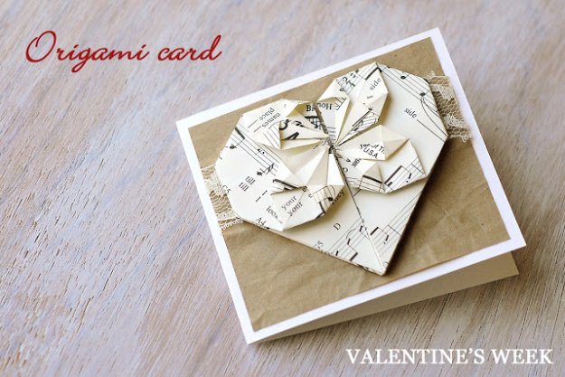 DIY Valentines Day Cards - Origami Valentine's Card - Easy Handmade Cards for Him and Her, Kids, Freinds and Teens - Funny, Romantic, Printable Ideas for Making A Unique Homemade Valentine Card - Step by Step Tutorials and Instructions for Making Cute Valentine's Day Gifts #valentines