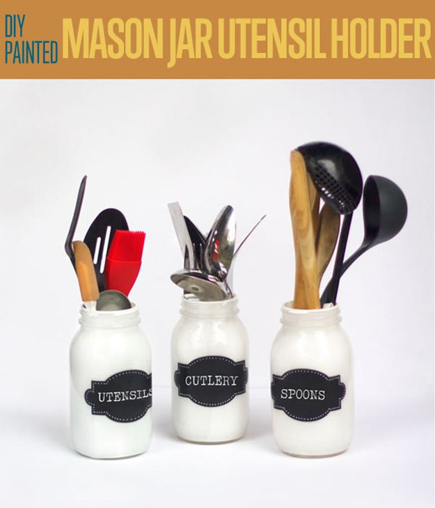 DIY Organizing Ideas for Kitchen - Painted Mason Jar Utensil Holder - Cheap and Easy Ways to Get Your Kitchen Organized - Dollar Tree Crafts, Space Saving Ideas - Pantry, Spice Rack, Drawers and Shelving - Home Decor Projects for Men and Women http://diyjoy.com/diy-organizing-ideas-kitchen
