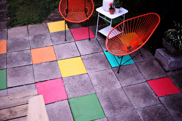 DIY Ideas for the Outdoors - Painted Patio Tiles - Best Do It Yourself Ideas for Yard Projects, Camping, Patio and Spending Time in Garden and Outdoors - Step by Step Tutorials and Project Ideas for Backyard Fun, Cooking and Seating #diy
