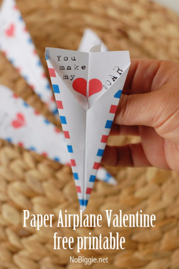 DIY Valentines Day Cards - Paper Airplane Valentine's Card - Easy Handmade Cards for Him and Her, Kids, Freinds and Teens - Funny, Romantic, Printable Ideas for Making A Unique Homemade Valentine Card - Step by Step Tutorials and Instructions for Making Cute Valentine's Day Gifts #valentines