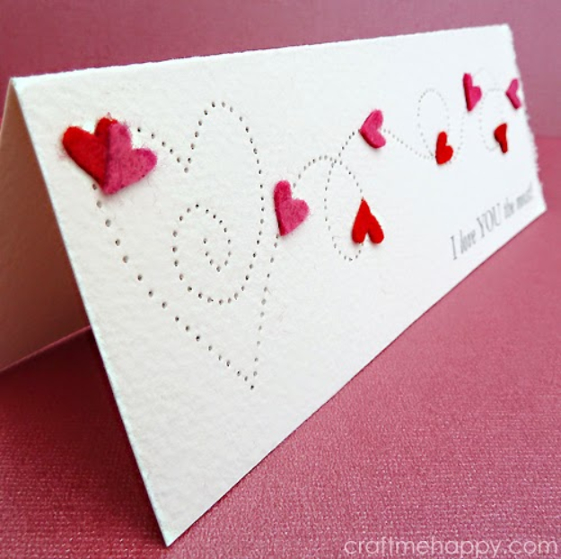DIY Valentines Day Cards - Paper Pierced Valentine's Card - Easy Handmade Cards for Him and Her, Kids, Freinds and Teens - Funny, Romantic, Printable Ideas for Making A Unique Homemade Valentine Card - Step by Step Tutorials and Instructions for Making Cute Valentine's Day Gifts #valentines