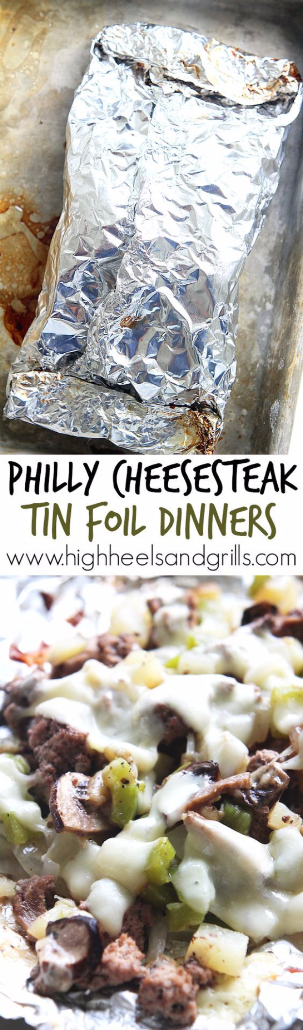 DIY Tin Foil Camping Recipes - Philly Cheesesteak Tin Foil Dinners - Tin Foil Dinners, Ideas for Camping Trips healthy Easy Make Ahead Recipe Ideas for the Campfire. Breakfast, Lunch, Dinner and Dessert, #recipes #camping