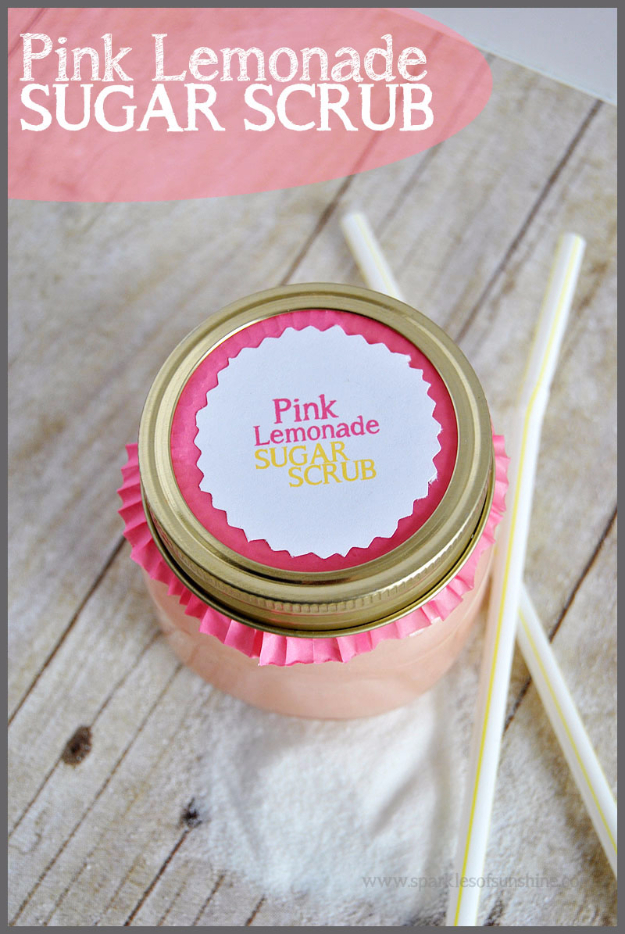 DIY Sugar Scrub Recipes - Pink Lemonade Sugar Scrub - Easy and Quick Beauty Products You Can Make at Home - Cool and Cheap DIY Gift Ideas for Homemade Presents Women, Girls and Teens Love - Natural Recipe Ideas for Making Sugar Scrub With Step by Step Tutorials