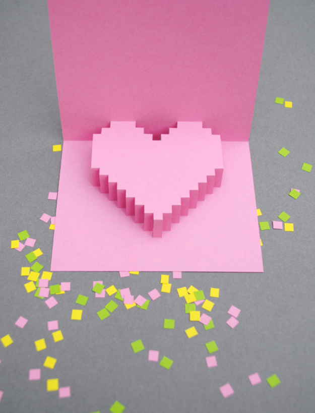DIY Valentines Day Cards - Pixelated Pop Up Card - Easy Handmade Cards for Him and Her, Kids, Freinds and Teens - Funny, Romantic, Printable Ideas for Making A Unique Homemade Valentine Card - Step by Step Tutorials and Instructions for Making Cute Valentine's Day Gifts #valentines
