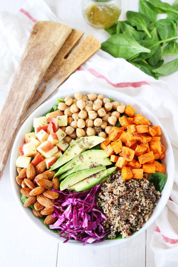 Healthy Lunch Ideas for Work - Power Salad with Lemon Chia Seed Dressing - Quick and Easy Recipes You Can Pack for Lunches at the Office - Lowfat and Simple Ideas for Eating on the Job - Microwave, No Heat, Mason Jar Salads, Sandwiches, Wraps, Soups and Bowls