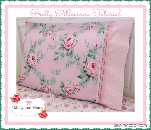 DIY Pillowcases - Pretty Pillowcase With Lace Trim - Easy Sewing Projects for Pillows - Bedroom