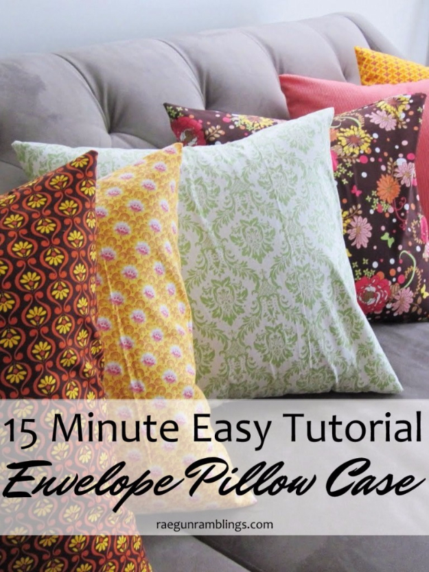 DIY Pillowcases - Quick Envelope Pillow Case - Easy Sewing Projects for Pillows - Bedroom and Home Decor Ideas - Sewing Patterns and Tutorials - No Sew Ideas - DIY Projects and Crafts for Women #sewing #diydecor #pillows