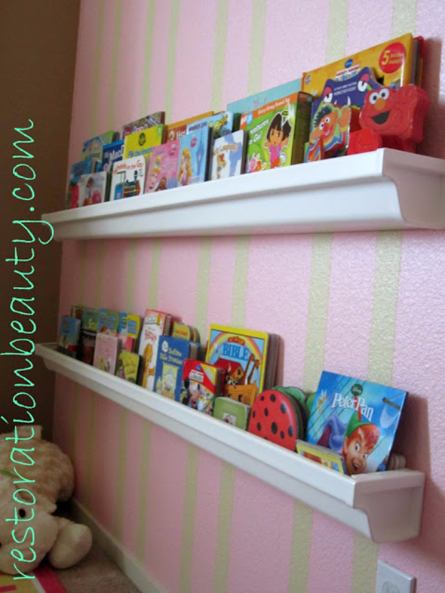 DIY Organizing Ideas for Kids Rooms - Rain Gutter Bookshelves - Easy Storage Projects for Boy and Girl Room - Step by Step Tutorials to Get Toys, Books, Baby Gear, Games and Clothes Organized - Quick and Cheap Shelving, Tables, Toy Boxes, Closet Tips, Bookcases and Dressers - DIY Projects and Crafts http://diyjoy.com/diy-organizing-ideas-kids-rooms