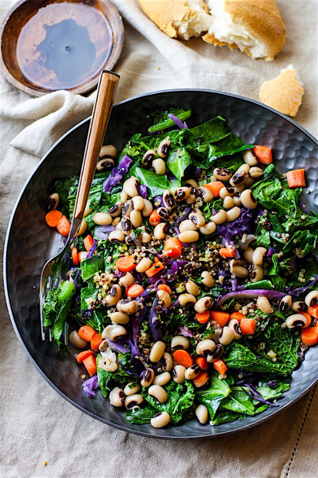 Healthy Lunch Ideas for Work - Rainbow Power Greens Salad With Black Eyed Peas - Quick and Easy Recipes You Can Pack for Lunches at the Office - Lowfat and Simple Ideas for Eating on the Job - Microwave, No Heat, Mason Jar Salads, Sandwiches, Wraps, Soups and Bowls