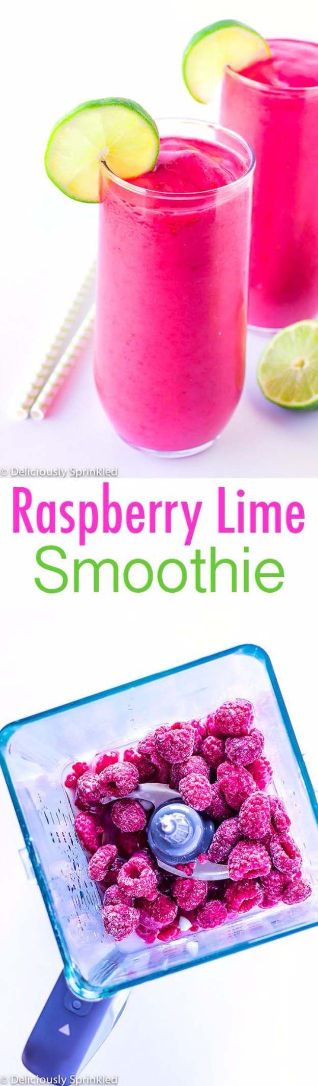Healthy Smoothie Recipes - Raspberry Lime Smoothie - Easy ideas perfect for breakfast, energy. Low calorie and high protein recipes for weightloss and to lose weight. Simple homemade recipe ideas that kids love. Quick EASY morning recipes before work and school, after workout #smoothies #healthy #smoothie #healthyrecipes #recipes