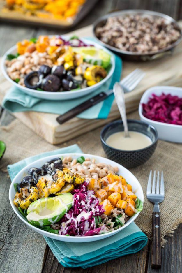 Healthy Lunch Ideas for Work - Roasted Rainbow Winter Bowl - Quick and Easy Recipes You Can Pack for Lunches at the Office - Lowfat and Simple Ideas for Eating on the Job - Microwave, No Heat, Mason Jar Salads, Sandwiches, Wraps, Soups and Bowls http://diyjoy.com/healthy-lunch-ideas-work