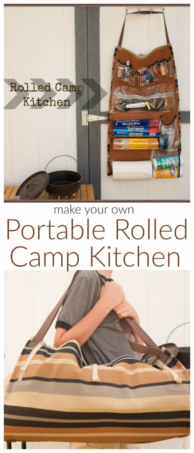 DIY Camping Hacks - Rolled Camp Kitchen - Easy Tips and Tricks, Recipes for Camping - Gear Ideas, Cheap Camping Supplies, Tutorials for Making Quick Camping Food, Fire Starters, Gear Holders #diy #camping