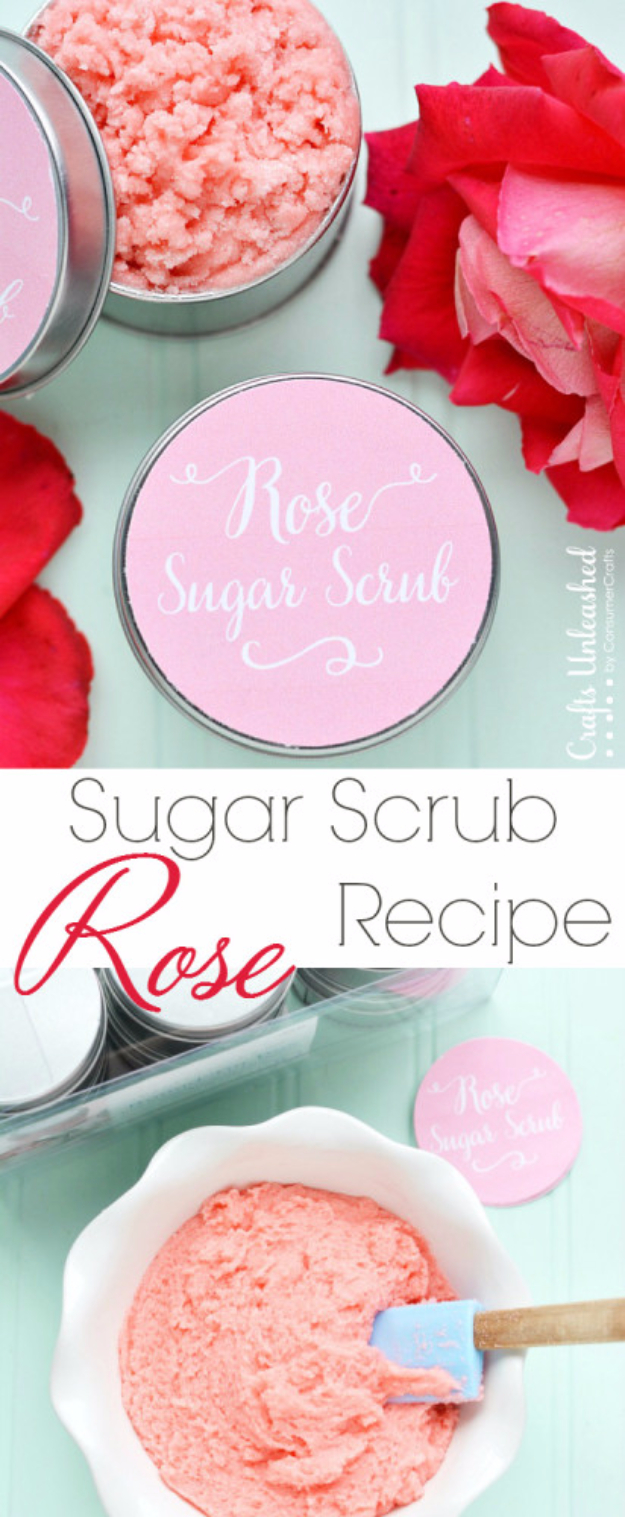 DIY Sugar Scrub Recipes - Rose Homemade Sugar Scrub - Easy and Quick Beauty Products You Can Make at Home - Cool and Cheap DIY Gift Ideas for Homemade Presents Women, Girls and Teens Love - Natural Recipe Ideas for Making Sugar Scrub With Step by Step Tutorials