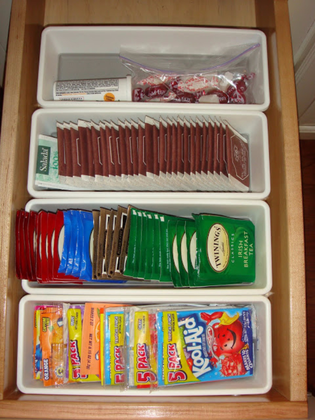 DIY Organizing Ideas for Kitchen - Sachet Container - Cheap and Easy Ways to Get Your Kitchen Organized - Dollar Tree Crafts, Space Saving Ideas - Pantry, Spice Rack, Drawers and Shelving - Home Decor Projects for Men and Women #diykitchen #organizing #diyideas #diy