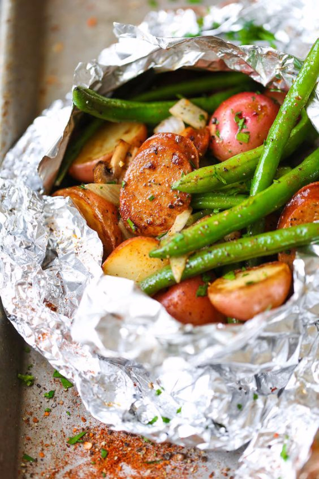 DIY Tin Foil Camping Recipes - Sausage Potato And Green Bean Foil Packets - Tin Foil Dinners, Ideas for Camping Trips healthy Easy Make Ahead Recipe Ideas for the Campfire. Breakfast, Lunch, Dinner and Dessert, #recipes #camping