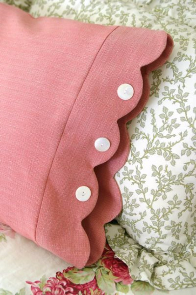 DIY Pillowcases - Scalloped Edge Pillowcase - Easy Sewing Projects for Pillows - Bedroom and Home Decor Ideas - Sewing Patterns and Tutorials - No Sew Ideas - DIY Projects and Crafts for Women #sewing #diydecor #pillows