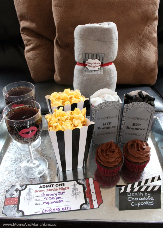DIY Date Night Ideas - Scary Movie Date Night - Creative Ways to Go On Inexpensive Dates - Creative Ways for Couples to Spend Time Together - Cute Kits and Cool DIY Gift Ideas for Men and Women - Cheap Ways to Have Fun With Your Husbnad or Wife, Girlfriend or Boyfriend - Valentines Day Date Ideas http://diyjoy.com/diy-date-night-ideas