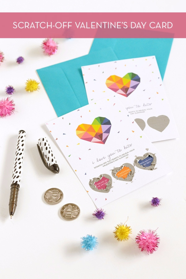 DIY Valentines Day Cards - Scratch Off Valentine's Card - Easy Handmade Cards for Him and Her, Kids, Freinds and Teens - Funny, Romantic, Printable Ideas for Making A Unique Homemade Valentine Card - Step by Step Tutorials and Instructions for Making Cute Valentine's Day Gifts #valentines