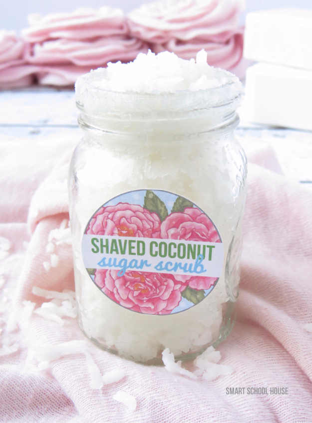 DIY Sugar Scrub Recipes - Shaved Coconut Sugar Scrub - Easy and Quick Beauty Products You Can Make at Home - Cool and Cheap DIY Gift Ideas for Homemade Presents Women, Girls and Teens Love - Natural Recipe Ideas for Making Sugar Scrub With Step by Step Tutorials