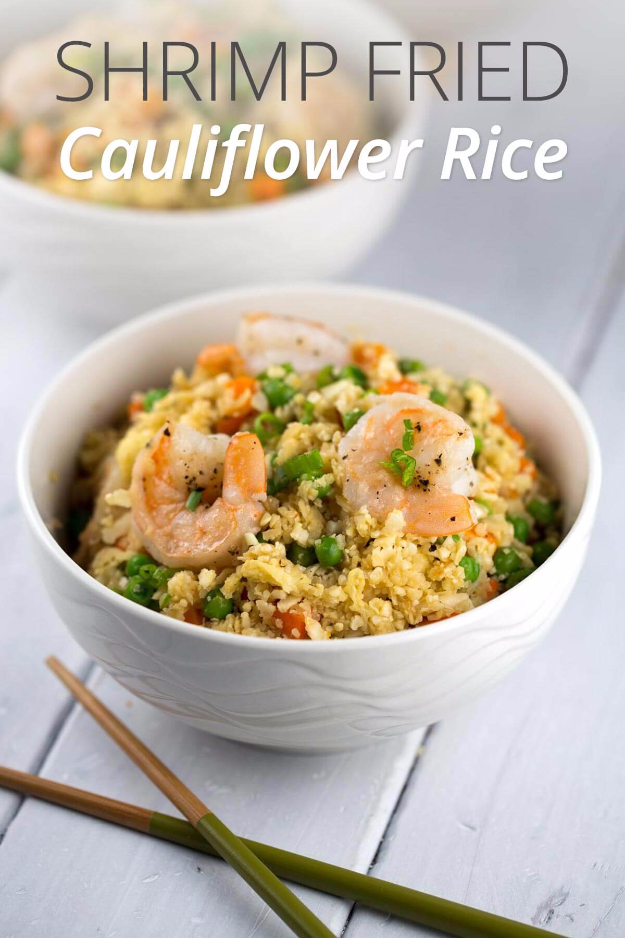Quick and Healthy Dinner Recipes - Shrimp Fried Cauliflower Rice Bowl - Easy and Fast Recipe Ideas for Dinners at Home - Chicken, Beef, Ground Meat, Pasta and Vegetarian Options - Cheap Dinner Ideas for Family, for Two , for Last Minute Cooking #recipes #healthyrecipes