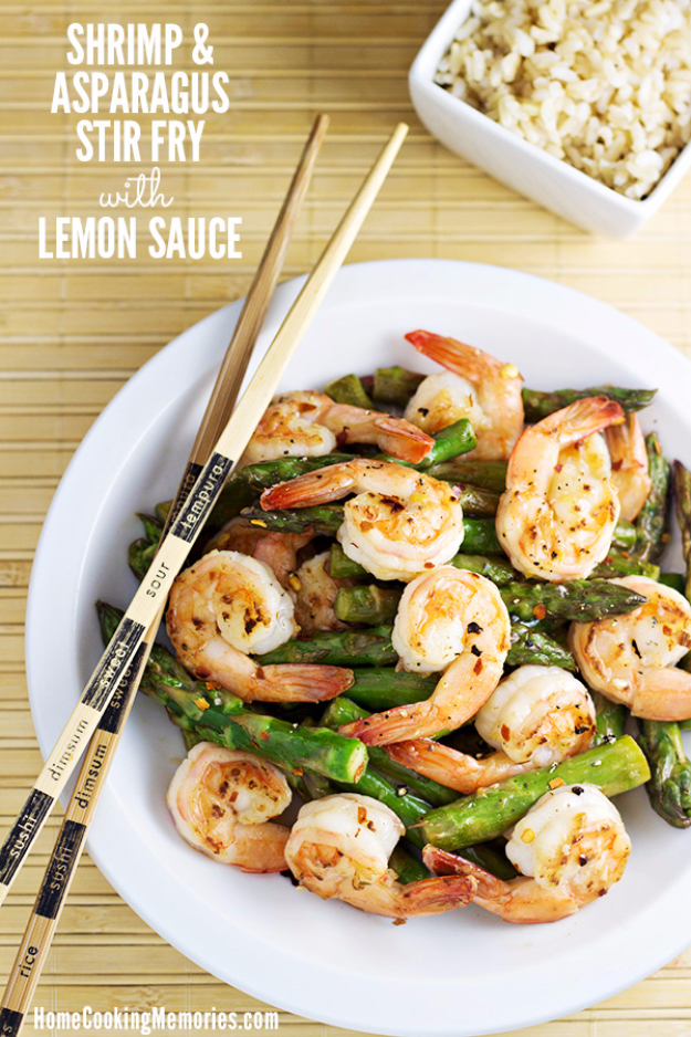 Quick and Healthy Dinner Recipes - Shrimp and Asparagus Stir Fry with Lemon Sauce - Easy and Fast Recipe Ideas for Dinners at Home - Chicken, Beef, Ground Meat, Pasta and Vegetarian Options - Cheap Dinner Ideas for Family, for Two , for Last Minute Cooking http://diyjoy.com/quick-healthy-dinner-recipes