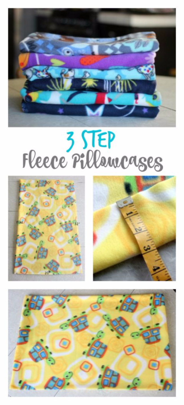 DIY Pillowcases - Simple 3 Step Fleece Pillowcases - Easy Sewing Projects for Pillows - Bedroom and Home Decor Ideas - Sewing Patterns and Tutorials - No Sew Ideas - DIY Projects and Crafts for Women #sewing #diydecor #pillows