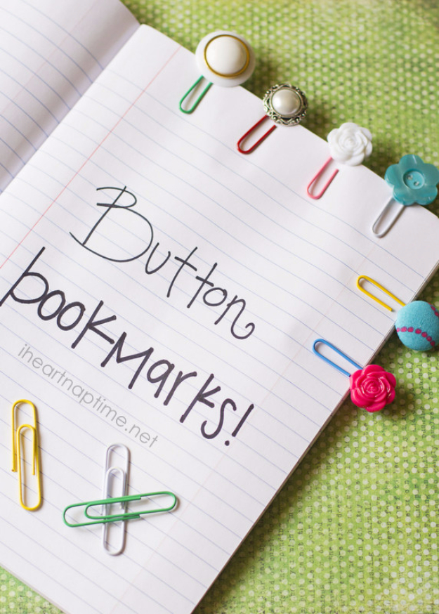 DIY Projects and Crafts Made With Buttons - Simple And Cute Button Bookmarks - Easy and Quick Projects You Can Make With Buttons - Cool and Creative Crafts, Sewing Ideas and Homemade Gifts for Women, Teens, Kids and Friends - Home Decor, Fashion and Cheap, Inexpensive Fun Things to Make on A Budget http://diyjoy.com/diy-projects-buttons