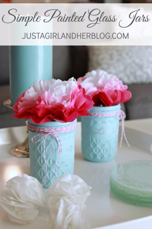 Best DIY Valentines Day Gifts - Simple Painted Glass Jars - Cute Mason Jar Valentines Day Gifts and Crafts for Him and Her | Boyfriend, Girlfriend, Mom and Dad, Husband or Wife, Friends - Easy DIY Ideas for Valentines Day for Homemade Gift Giving and Room Decor | Creative Home Decor and Craft Projects for Teens, Teenagers, Kids and Adults