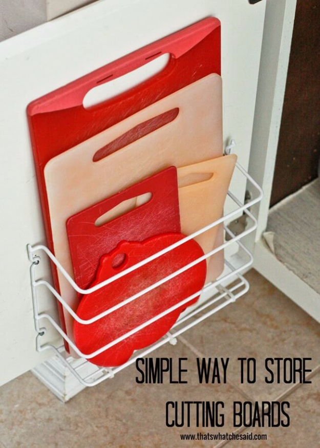 DIY Organizing Ideas for Kitchen - Simple Way To Store Cutting Boards - Cheap and Easy Ways to Get Your Kitchen Organized - Dollar Tree Crafts, Space Saving Ideas - Pantry, Spice Rack, Drawers and Shelving - Home Decor Projects for Men and Women #diykitchen #organizing #diyideas #diy
