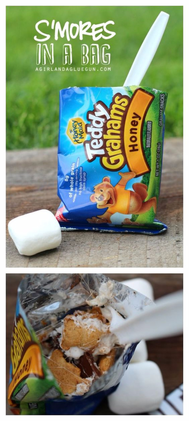 DIY Camping Hacks - S'mores In A Bag Campfire Treat - Easy Tips and Tricks, Recipes for Camping - Gear Ideas, Cheap Camping Supplies, Tutorials for Making Quick Camping Food, Fire Starters, Gear Holders #diy #camping