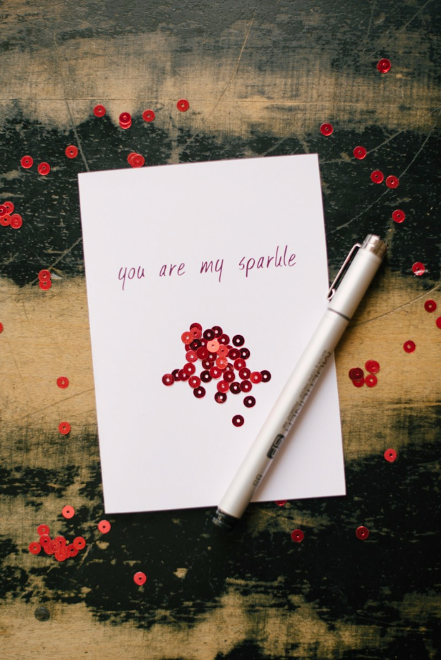 DIY Valentines Day Cards - Sparkle Valentine's Card - Easy Handmade Cards for Him and Her, Kids, Freinds and Teens - Funny, Romantic, Printable Ideas for Making A Unique Homemade Valentine Card - Step by Step Tutorials and Instructions for Making Cute Valentine's Day Gifts http://diyjoy.com/diy-valentines-day-cards