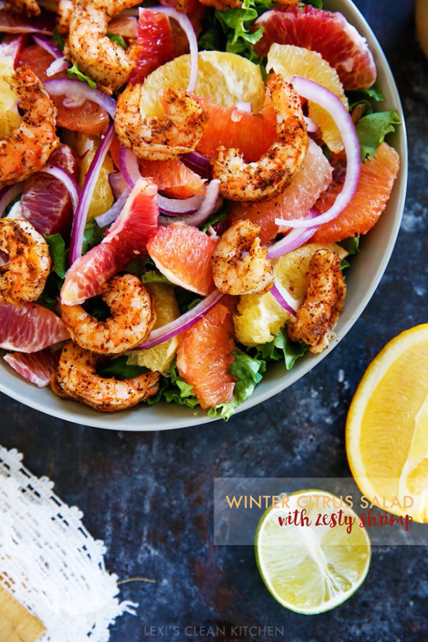Healthy Lunch Ideas for Work - Spicy Shrimp and Citrus Salad - Quick and Easy Recipes You Can Pack for Lunches at the Office - Lowfat and Simple Ideas for Eating on the Job - Microwave, No Heat, Mason Jar Salads, Sandwiches, Wraps, Soups and Bowls