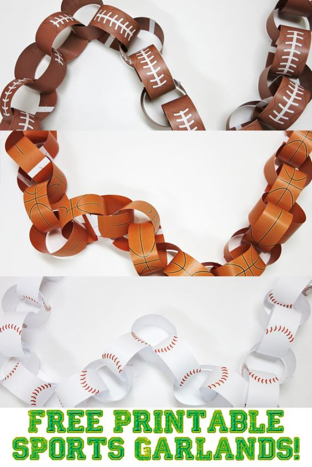 DIY Projects for the Sports Fan - Sports Garland DIY - Crafts and DIY Ideas for Men - Football, Baseball, Basketball, Soccer and Golf - Wall Art, DIY Gifts, Easy Gift Ideas, Room and Home Decor http://diyjoy.com/diy-ideas-sports-fan