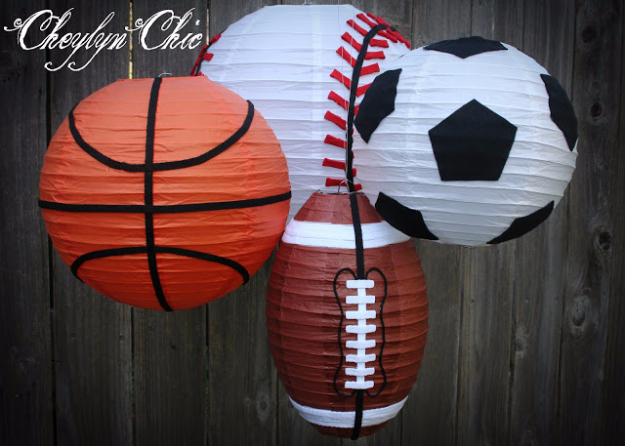 DIY Projects for the Sports Fan - Sports Paper Lanterns - Crafts and DIY Ideas for Men - Football, Baseball, Basketball, Soccer and Golf - Wall Art, DIY Gifts, Easy Gift Ideas, Room and Home Decor http://diyjoy.com/diy-ideas-sports-fan