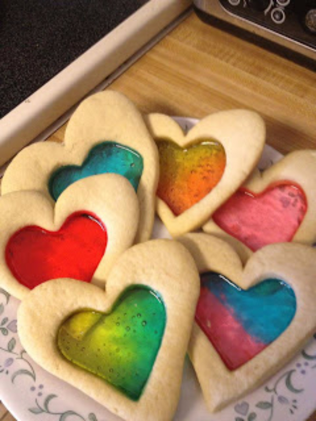DIY Valentines Day Cookies - Stain Glass Sugar Cookies - Easy Cookie Recipes and Recipe Ideas for Valentines Day - Cute DIY Decorated Cookies for Kids, Homemade Box Cookies and Bouquet Ideas - Sugar Cookie Icing Tutorials With Step by Step Instructions - Quick, Cheap Valentine Gift Ideas for Him and Her http://diyjoy.com/diy-valentines-day-cookie-recipes