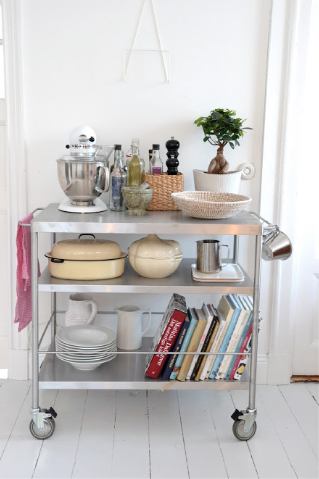 DIY Organizing Ideas for Kitchen - Stainless Kitchen Cart - Cheap and Easy Ways to Get Your Kitchen Organized - Dollar Tree Crafts, Space Saving Ideas - Pantry, Spice Rack, Drawers and Shelving - Home Decor Projects for Men and Women #diykitchen #organizing #diyideas #diy