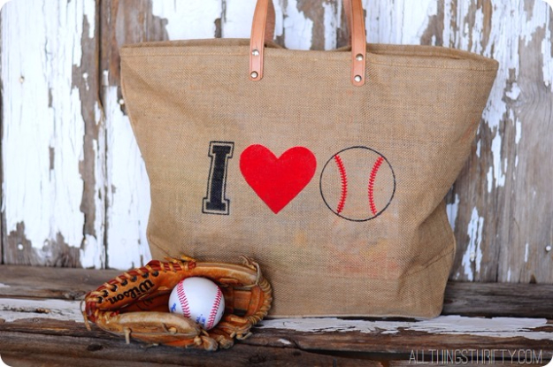 DIY Projects for the Sports Fan - Stenciled Baseball Bag - Crafts and DIY Ideas for Men - Football, Baseball, Basketball, Soccer and Golf - Wall Art, DIY Gifts, Easy Gift Ideas, Room and Home Decor http://diyjoy.com/diy-ideas-sports-fan