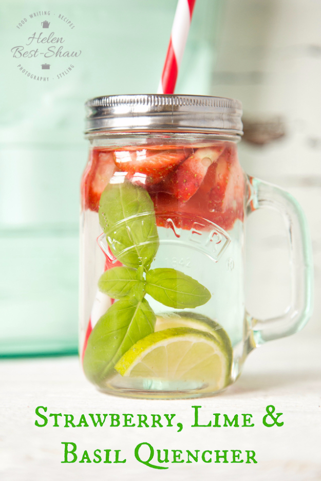 Best DIY Detox Waters and Recipes - Strawberry Lime And Basil Quencher - Homemade Detox Water Instructions and Tutorials - Lose Weight and Remove Toxins From the Body for Your New Years Resolutions - Easy and Quick Recipe Ideas for Getting Healthy in 2017 - DIY Projects and Crafts by DIY Joy