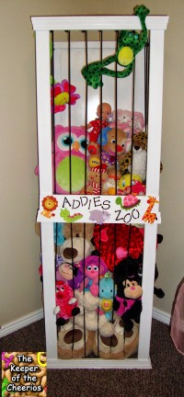 DIY Organizing Ideas for Kids Rooms - Stuffed Animal Storage Zoo - Easy Storage Projects for Boy and Girl Room - Step by Step Tutorials to Get Toys, Books, Baby Gear, Games and Clothes Organized #diy #kids #organizing