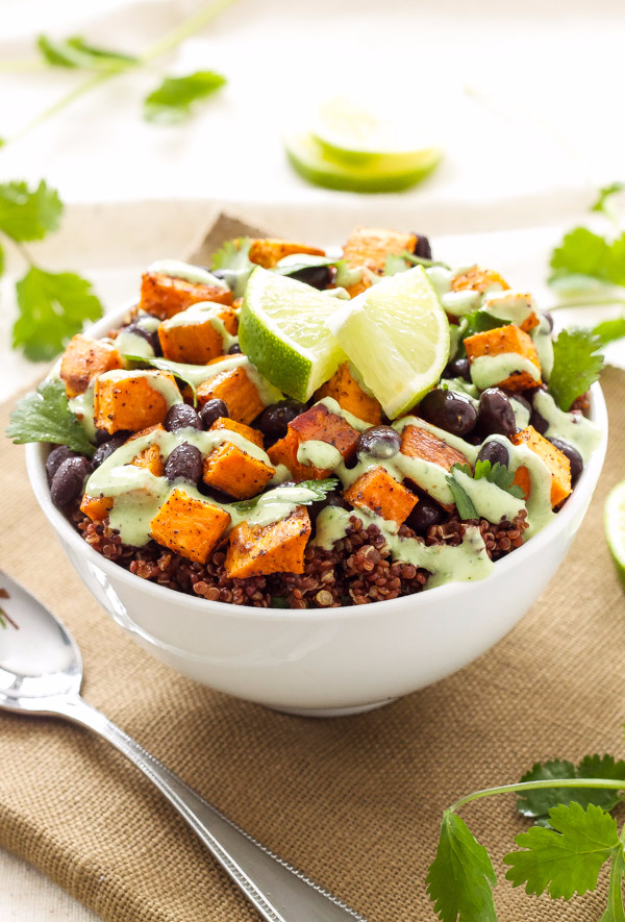 Healthy Lunch Ideas for Work - Sweet Potato And Black Bean Quinoa Bowls - Quick and Easy Recipes You Can Pack for Lunches at the Office - Lowfat and Simple Ideas for Eating on the Job - Microwave, No Heat, Mason Jar Salads, Sandwiches, Wraps, Soups and Bowls