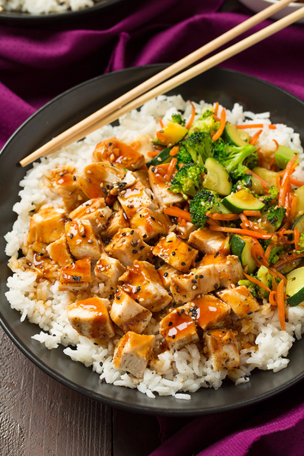 Quick and Healthy Dinner Recipes - Teriyaki Grilled Chicken and Veggie Rice Bowls - Easy and Fast Recipe Ideas for Dinners at Home - Chicken, Beef, Ground Meat, Pasta and Vegetarian Options - Cheap Dinner Ideas for Family, for Two , for Last Minute Cooking #recipes #healthyrecipes