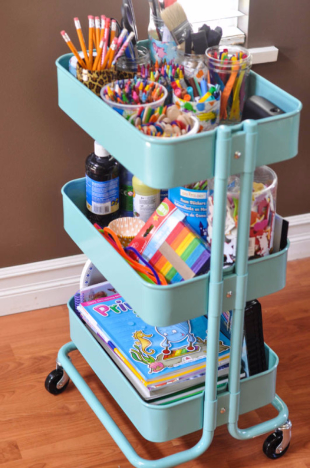 DIY Organizing Ideas for Kids Rooms - The Art Cart - Easy Storage Projects for Boy and Girl Room - Step by Step Tutorials to Get Toys, Books, Baby Gear, Games and Clothes Organized #diy #kids #organizing