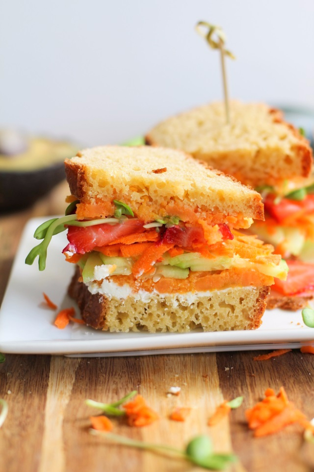 Healthy Lunch Ideas for Work - The Ultimate Garden Vegetable Sandwich With Herbed Goat Cheese - Quick and Easy Recipes You Can Pack for Lunches at the Office - Lowfat and Simple Ideas for Eating on the Job - Microwave, No Heat, Mason Jar Salads, Sandwiches, Wraps, Soups and Bowls http://diyjoy.com/healthy-lunch-ideas-work