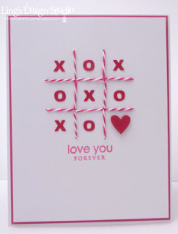 DIY Valentines Day Cards - Tic Tac Toe XOXO Card - Easy Handmade Cards for Him and Her, Kids, Freinds and Teens - Funny, Romantic, Printable Ideas for Making A Unique Homemade Valentine Card - Step by Step Tutorials and Instructions for Making Cute Valentine's Day Gifts #valentines