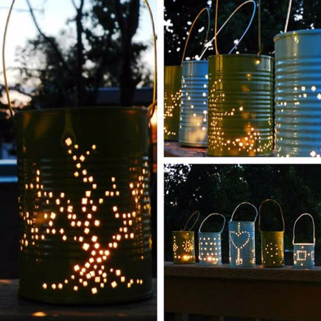 DIY Ideas for the Outdoors - Tin Can Lantern - Best Do It Yourself Ideas for Yard Projects, Camping, Patio and Spending Time in Garden and Outdoors - Step by Step Tutorials and Project Ideas for Backyard Fun, Cooking and Seating #diy