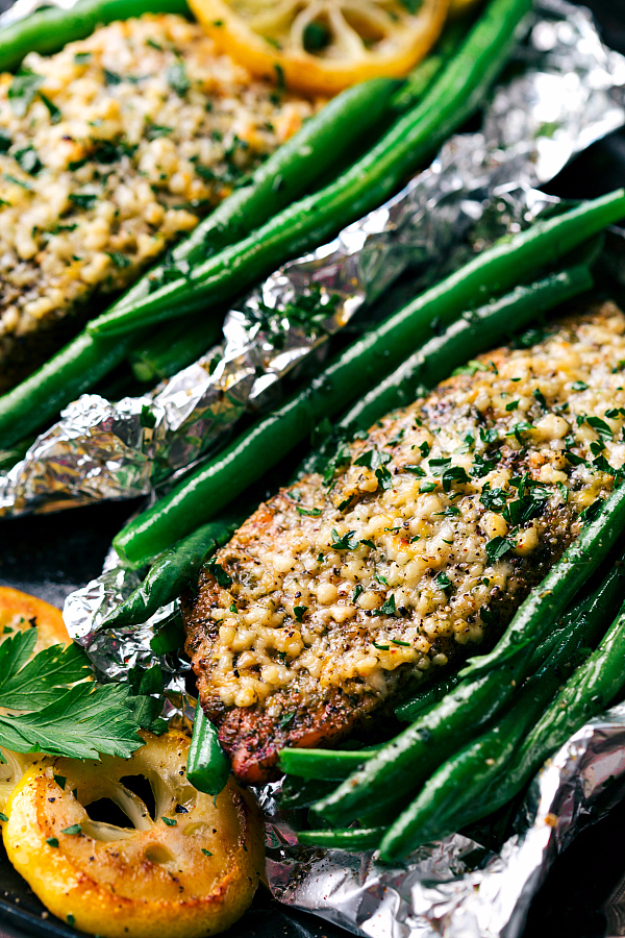 DIY Tin Foil Camping Recipes - Tin Foil Garlic Parmesan Salmon And Veggies - Tin Foil Dinners, Ideas for Camping Trips healthy Easy Make Ahead Recipe Ideas for the Campfire. Breakfast, Lunch, Dinner and Dessert, #recipes #camping