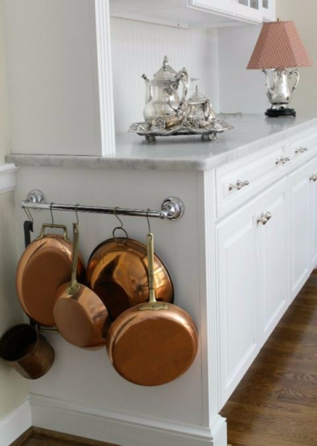 DIY Organizing Ideas for Kitchen - Towel Bars To Organize Pots And Pans - Cheap and Easy Ways to Get Your Kitchen Organized - Dollar Tree Crafts, Space Saving Ideas - Pantry, Spice Rack, Drawers and Shelving - Home Decor Projects for Men and Women #diykitchen #organizing #diyideas #diy